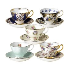 100 Years Teacups and Saucers (Set of 5)