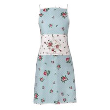Polka Blue New Country Rose Bud Adult Apron