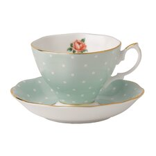 Polka Rose Formal Vintage Teacup and Saucer (Set of 2)