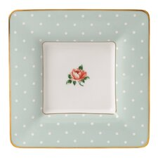 "Polka Rose Square 6.9"" Trinket Tray"