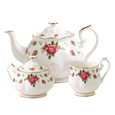 New Country Roses White 3 Piece Tea Set
