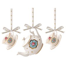 New Country Roses Mini Teacup Ornaments (Set of 3)