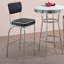 "Red Cliff 29"" Retro Bar Stool with Back in Chrome"