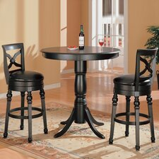 Littleton Contemporary Round Bar Table Set in Black