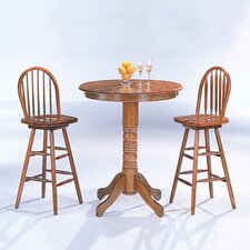 McCoy Bar Table with Arrow Back Bar Stool in Oak (3 Piece Set)