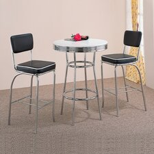 Red Cliff Retro Bar Table with Red Cushion Bar Stool in Chrome (3 Piece Set)