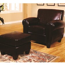 <strong>Wildon Home ®</strong> Bycast Leather Chair and Ottoman
