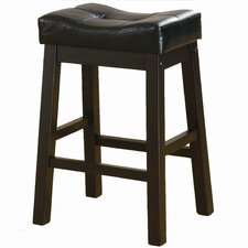 "Duncan 24"" Backless Barstool in Warm Brown Cherry With Black Upholstery"
