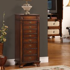 Manhattan Eight Drawer Jewelry Armoire in Coffee