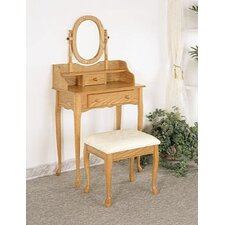 Woodland Queen Anne Vanity Set with Stool in Oak