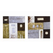 Round Peg Square Hole Abstract Wall Art (Set of 2)
