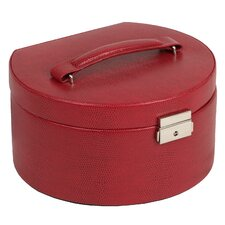 Round Jewelry Box with Travel Case in Red