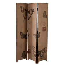 """69.25"""" x 47.75"""" Vasilis Vintage Butterfly 3 Panel Room Divider"""