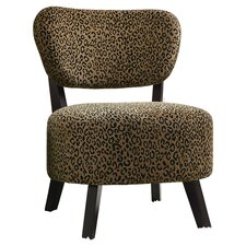 Leopard Print Slipper Chair in Brown