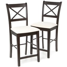 "Kremmling 24"" Bar Stool with Cross Back Fabric Seat in Cappuccino"