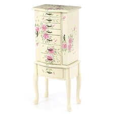 Westport Hand Painted Roses Floral Jewelry Armoire