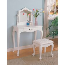 Winlock Vanity Set with Stool in White