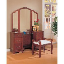 Winlock Vanity Set with Stool in Cherry