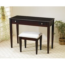 Benson Vanity Set with Stool in Rich Cappuccino