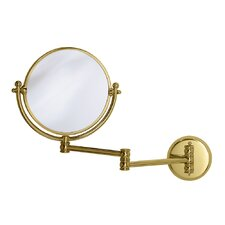 "Magnifying 7.5"" Swinging Wall Mirror in Polished Brass"