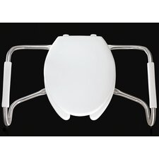 Medic Aid Safety Side Arm Commercial Open Front Solid Plastic Elongated Toilet Seat