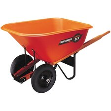 10 Cubic Foot Contractor Wheelbarrow in Orange