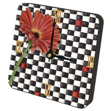 Gerber Daisy Checkers Tiny Times Desk Clock