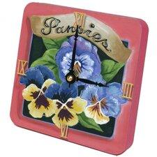 Pansies Tiny Times Clock