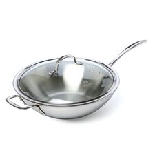 "<strong>Calphalon</strong> Tri-Ply Stainless Steel 12"" Stir Fry & Cover"