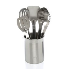 6 Piece Stainless Steel Utensil Set with Crock