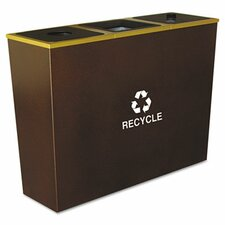 Metro Collection Recycling Receptacle, Triple Stream, Steel, 54 Gal
