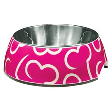 Dogit Style Dog Bowl in Pink Bones