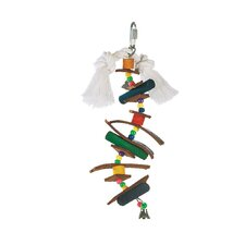 Living World Small Skewer with Wood Pegs, Beads, Leather Strips and Bell Bird Toy