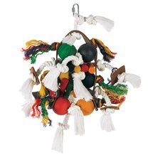 Living World Large Wood Rope and Leather Tamborine with Wood Balls Bird Toy