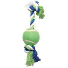 Dogit Striped Cotton Rope Bone with Tennis Ball Dog Toy