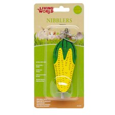 LW Nibblers Wood Corn Cob on A Stick Small Pet Chew Toy