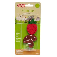 LW Nibblers Wood Strawberry and Mushroom on A Stick Small Pet Chew Toy