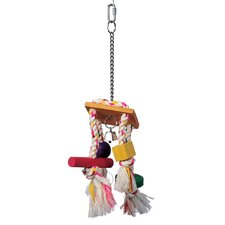 Living World Junglewood Bird Toy Rope Chime with Bell Cylinder Block and Bead