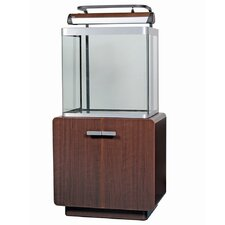 Fluval Osaka Complete Bent Glass Aquarium Set in Walnut with Brushed Silver Trim
