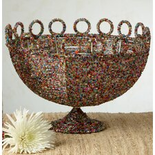 Kindwer Round Beaded Decorative Basket