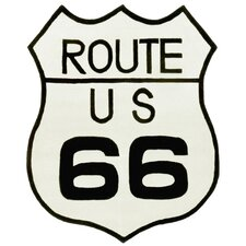 Playful Black Route 66 Rug