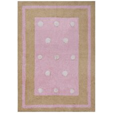 Carousel Pink Border Dots Kids Rug