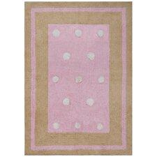 Carousel Pink Border Dots Kids Rug