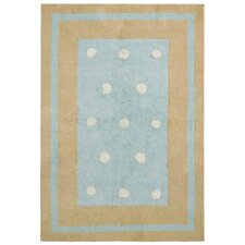 Carousel Blue Border Dots Kids Rug