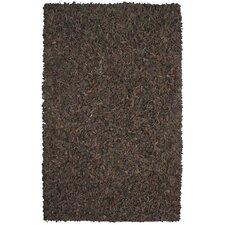 Pelle Leather Dark Brown Rug