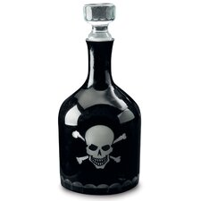 Kindwer Skull and Crossbones Etched Glass Decanter