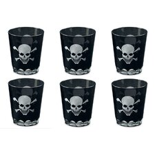 Kindwer Skull and Crossbones Etched Rock Glass (Set of 6)