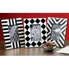 Kindwer 3 Piece Horn and Bone Geometric Picture Frame Set