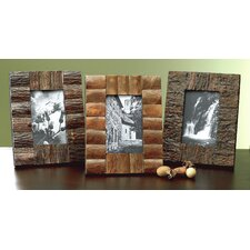 Kindwer 3 Piece Rustic Tree Bark Wood Picture Frame Set