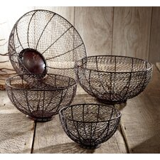 <strong>St. Croix</strong> Kindwer 4 Piece Round Chevron Iron Basket Set (Set of 4)